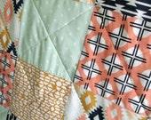 Ready To Ship - Modern Baby Quilt - Arizona - Patchwork -  Tribal - Mint, Peach, Dark Navy, White, Mustard - Light Grey Minky Back