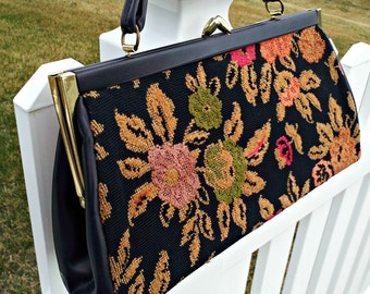 Vintage Floral Carpet Bag Purse - Structured Mid Century Carpet Handbag with Gold Toned Clasp