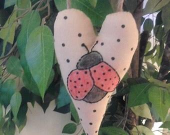 ATG2OFG, Handmade, Heart, Ladybug, Ornament
