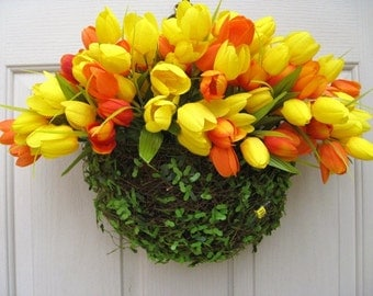 Spring Door Decor, Spring Wreath, Tulip Wreath, Yellow Tulips, Orange Spring Tulips, Orange Wreath, Front Door Wreath Alternative