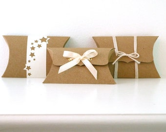50 Kraft Pillow Boxes, wedding favor boxes, jewelry packaging, gift box, DIY favors, ribbon tie style