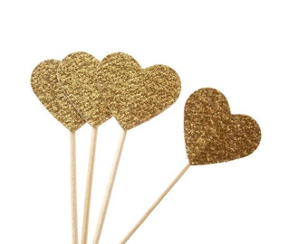 24 Glitter Gold Heart Cupcake Toppers, Appetizer Picks, Sandwich Picks, Cocktail Picks - No625
