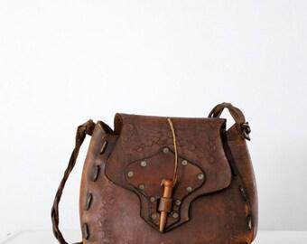 1960s leather bag, hippie purse