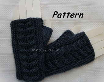 Instant Download to PDF CROCHET Pattern: Staghorn Cable Fingerless Mitts