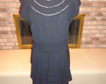 Vintage 40s Holiday LBD Little Black Peplum Dress