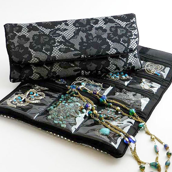 Large jewelry roll travel storage organizer case for jewelry for Wedding dress travel case