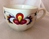 Porsgrund Farmer's Rose Fine Bone China Floral Vintage Cup no saucer - red blue white yellow - Modern Rosemaling - Norway - Demitasse