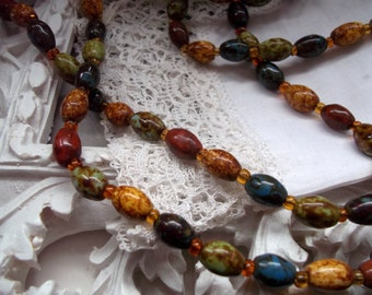 Vintage Retro mottled 50s 60s ceramic Bead Necklace murano style Gift Harlequin stone effect Mothers Day