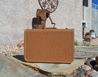 Vintage Taperlite Suitcase Camel Faux Leather Overnight Luggage Satin Lining Travel Case Mid Century 1950s