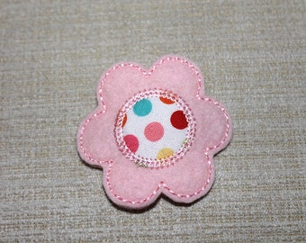 Baby Pink flower with polka dot center Snap hair clip 100% Wool Felt