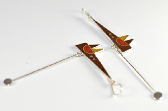 Sterling Silver Earrings, Contemporary Jewelry, Fox, Brown Colors, Geometric, Modern