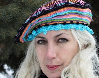 Multicoloured Crochet Hat with Colorful Buttons...