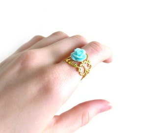 Aqua Rose on Gold Filigree Adjustable Ring