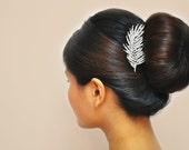 Feather, Crystal, Wedding, Accessory: Bridal, Hair, Comb, Headpiece
