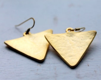 geometric earrings- gold plated triangle earrings - FREE SHIPPING-minimalistic gold jewelry-22k matte gold plated -everyday wear-geo style