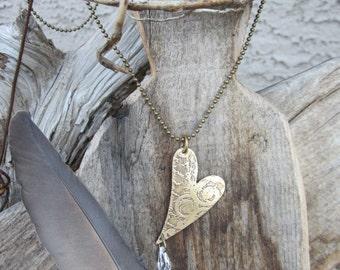 vintaj heart pendant necklace jewelry etched brass metal heart jewelry offset heart necklace Swarovski crystal necklace