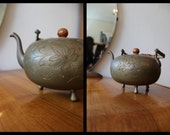 Vintage Footed Brass Teapot