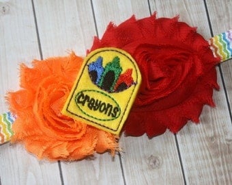 Shabby Flower Headband - Crayon Party, Birthday Outfit, Crayon Birthday, Back To School, 100th Day Of School, Elastic Headband, M2M Boutique
