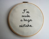 Arrested Development Huge Mistake quote cross stitch wall hanging