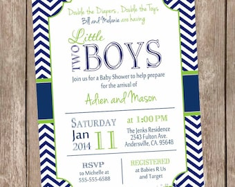 Twin Boys Baby Shower Invitation, Navy and Lime Green, Chevron Baby Shower Invitation, printable invitation