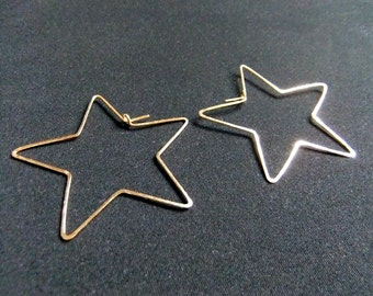 Medium Star Shaped Hoops Sterling Silver 14K Gold filled Stars Hammered Stars Hoop Earrings Hand Shaped Handcrafted Metal Stars Fun Funky