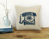 Vintage Rotary Phone Cushion Cover in Navy Blue, Natural Beige & Ikat Accent | 16x16 Decorative Throw Pillow Case | Retro Industrial Decor