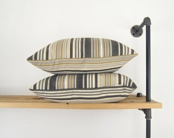 Modern outdoor striped pillow case , Patio garden decor - 18x18 inches decorative pillow / 45x45 cm - Grey, black, khaki and cream stripes