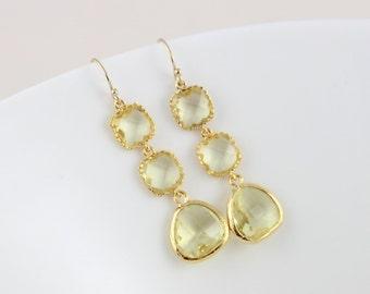 Citrine Birthstone Earrings, Sister's earrings, Birthday earrings,  -14k Gold Citrine Earings, November Citrine Birthstones in 16k Frames