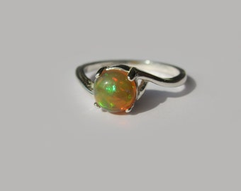Natural Precious Opal In Sterling Silver Crescent Ring, 1.1ct. Size 7