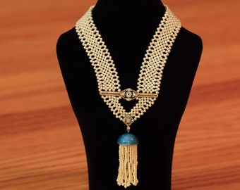 Hand Woven Seed Pearl Sautoir Tassel Necklace With a Touch of Blue