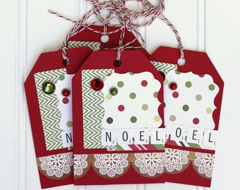 5 Handmade Red, Green, and Off White / Cream Christmas Holiday Gift Tags / Shipping Tags (4.5 x 3 inches) with Red & Green Baker's Twine