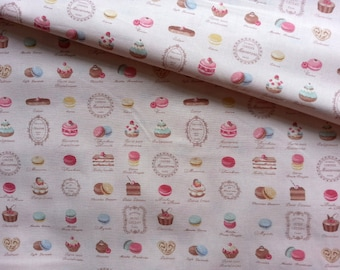 Japanese Fabric Cotton Yuwa - Mini Patisserie pink - a yard