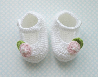 Baby Crochet Shoes, White Crochet Ballerina, Little Girl Baptism shoes, Gift for babies, Cotton Shoes for baby