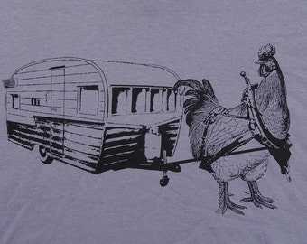 Mens urban chicken with trailer-  american apparel slate gray- available in S, M, L, XL, XXL- WorldWide Shipping