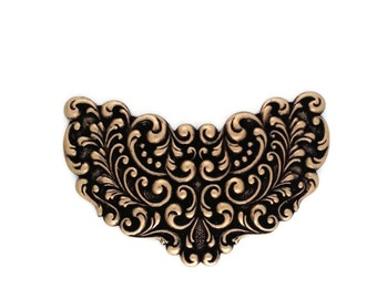 Winged Filigree Scroll Focal Plaque Ox Brass Stamping 86mm x 56mm Qty 1 One Made in the USA