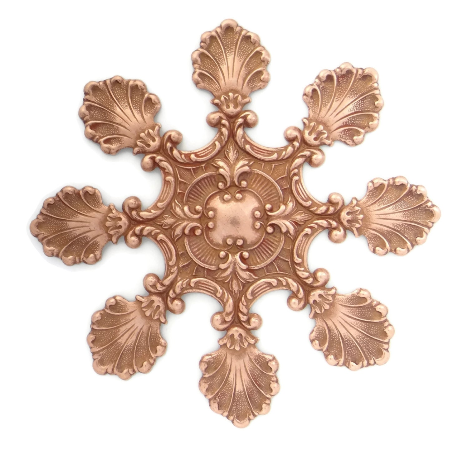 16 Rose Gold And Copper Details For Stylish Interior Decor: Copper Rose Gold Plated Brass Stamping Victorian Style Huge