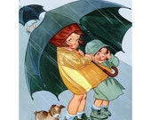 Kids with Umbrellas in the Rain - Get Well or Encouragement Greeting Card