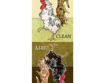 Clean Dirty Dishwasher Magnet - Rooster Struts Chicken Dish Washer Magnet