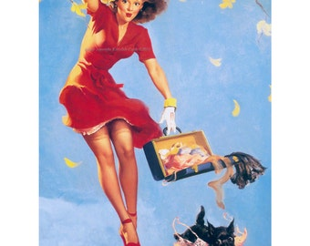 Pinup Girl Card - Scotty Dog Steals Bra - Finders Keepers - Repro Elvgren