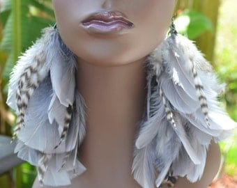 Grizzly Gray Feather Earrings