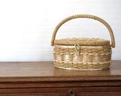 Vintage Sewing Basket / wicker with handle and hinged lid / Dritz brand / oval / neutral shades