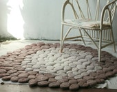 Hand Felted round ombre/fade rug with cream,brown felt stones