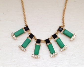 Green necklace, matchstick  necklace, Green and black, Crystal Necklace, Statement Necklace, Jcrew Necklace, Jewelry, Bridesmaid Necklace