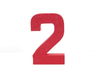 Red Glitter Number - Second Birthday - Party Decor - Curious George - Sock Monkey - Snow White - Toy Story - Big Number