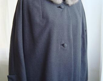 Fur Collared Swing Coat, Gorgeous Silver Grey Coat With Fox Fur Collar