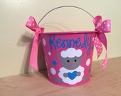 Personalized Easter basket, 5 quart metal bucket, name or monogram, lamb design, other colors available, Easter, Halloween, Baby, Birthday