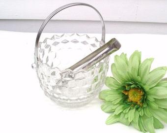 Vintage Ice Bucket, Glass Ice Bucket, Fostoria Crystal Ice Bucket, American Fostoria, Ice Tongs