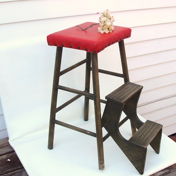 vintage kitchen stool wooden step stool wood fold out stepladder red
