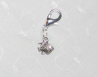 Tiny Silver Fish Cell Phone Lanyard Charm Zipper Pull with Lobster Clasp