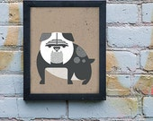 English Bulldog 8 x 10 Screenprint Art
